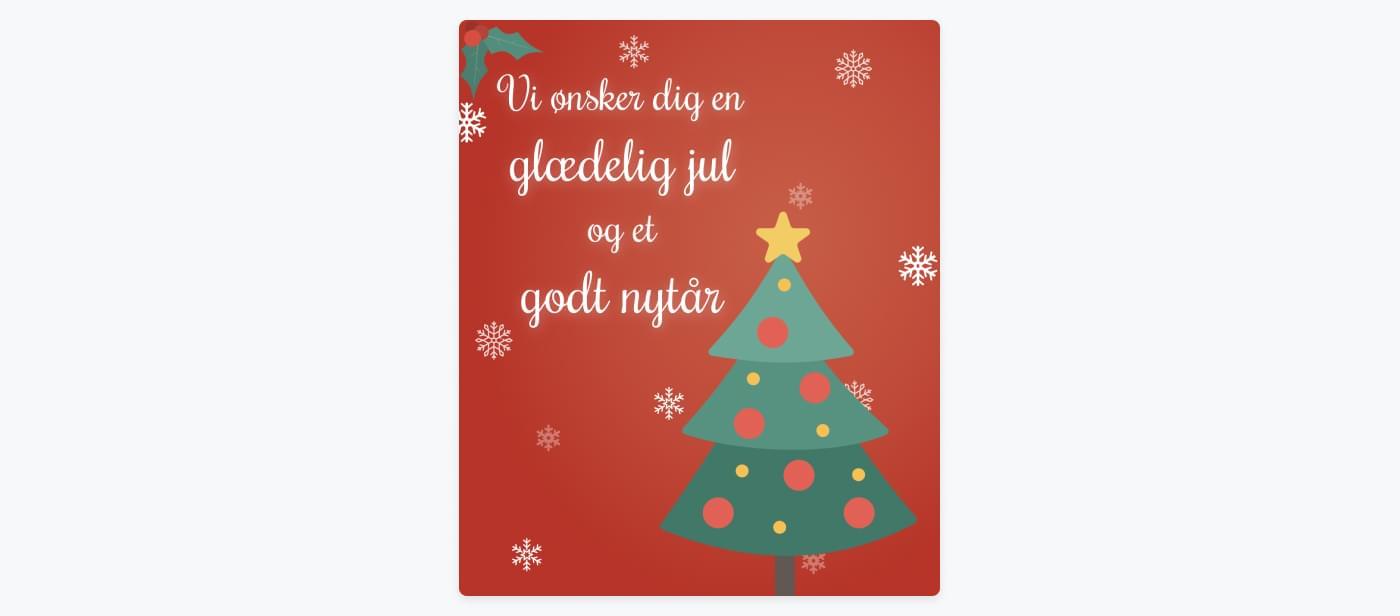 Eksempel på julekort, som kan udsendes via email