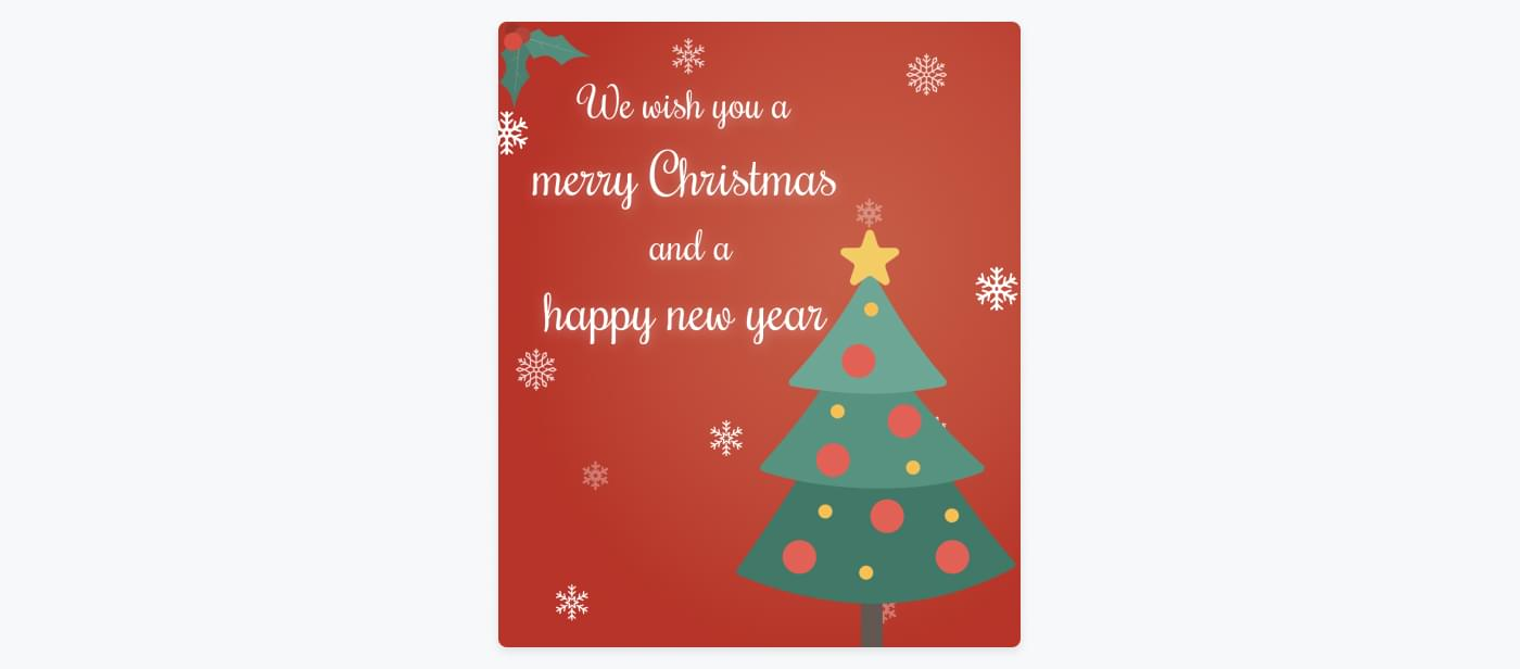 Christmas card that can be sent out to customers