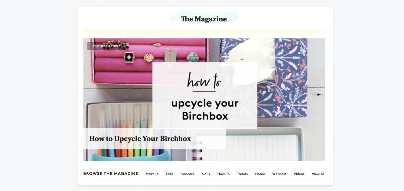 Toppen af BirchBoxs blog 'the Mag', hvor de deler tips om makeup og hudpleje.