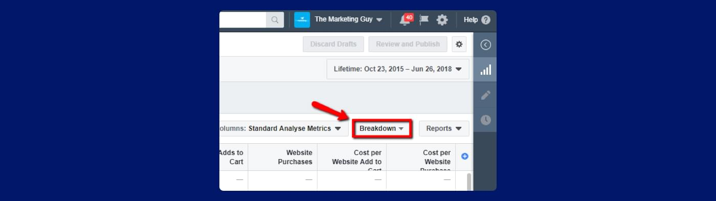 screenshot from Facebook ads of how to find breakdown