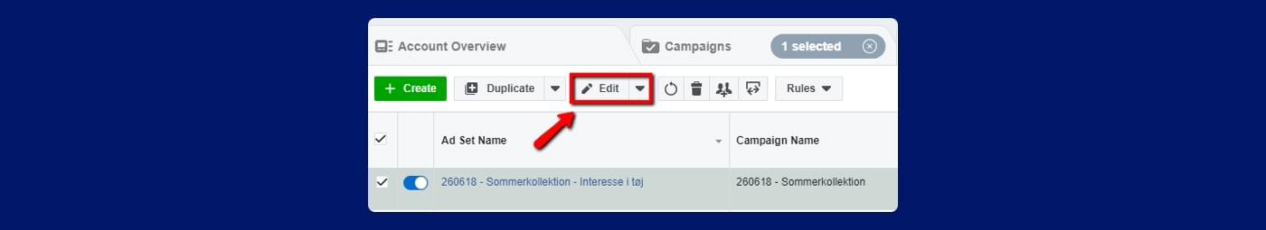 screenshot from Facebook ads of how to edit an ad