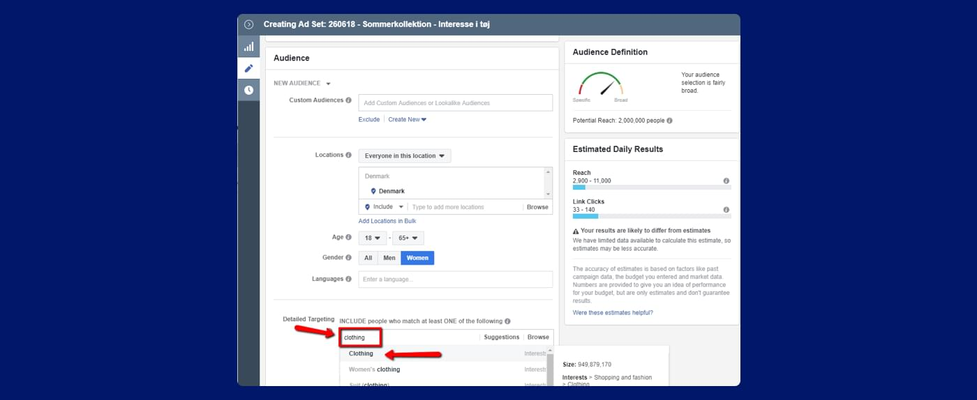 screenshot from Facebook ads of how to do detailed targeting