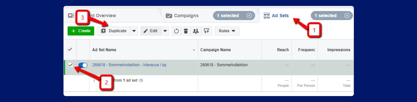screenshot fra Facebook annoncering - sådan duplikere du en annonce
