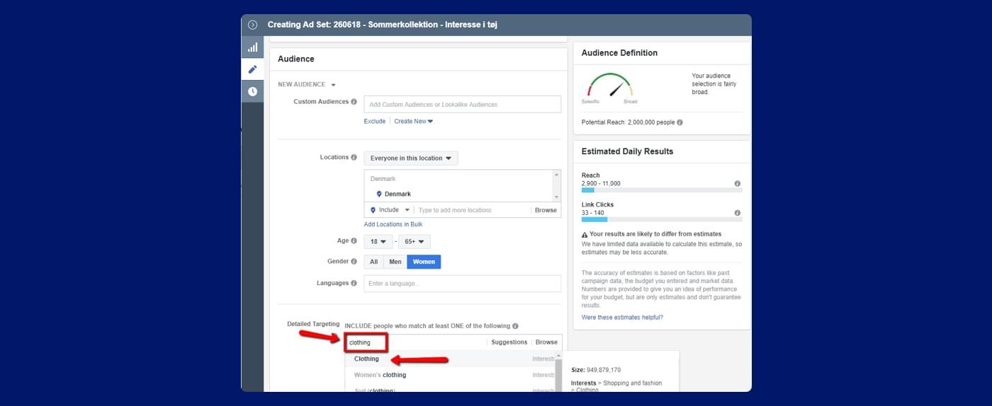 Screenshot fra Facebook annoncering - sådan ændre du din målretning