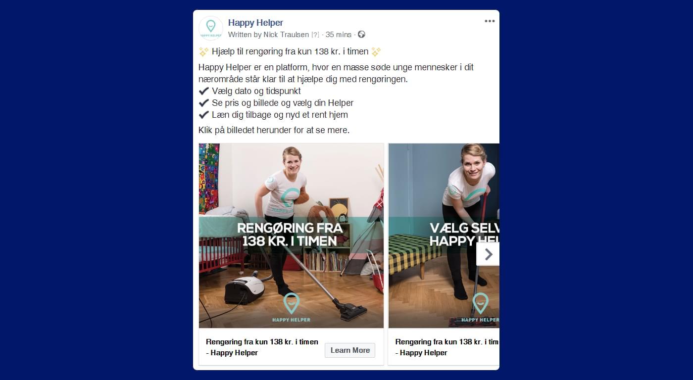 Screenshot af Happy Helped annonce med kvinde, der støvsuger