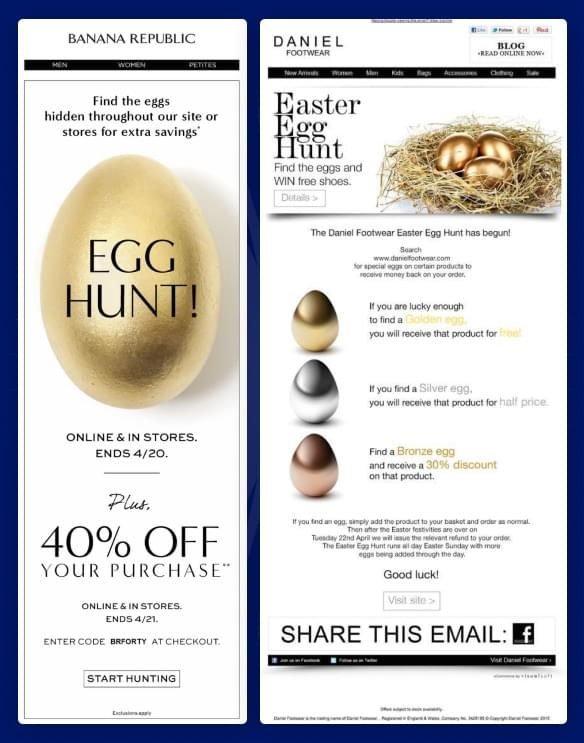 online shops having an easter egg hunt on their site