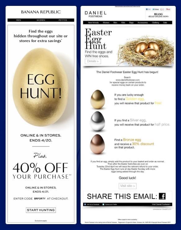 online shops having an easter egg hunt on their site
