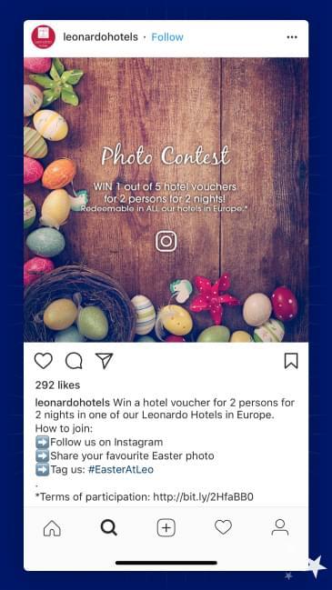 Instagram post where Leonardo Hotels share their Easter hashtag