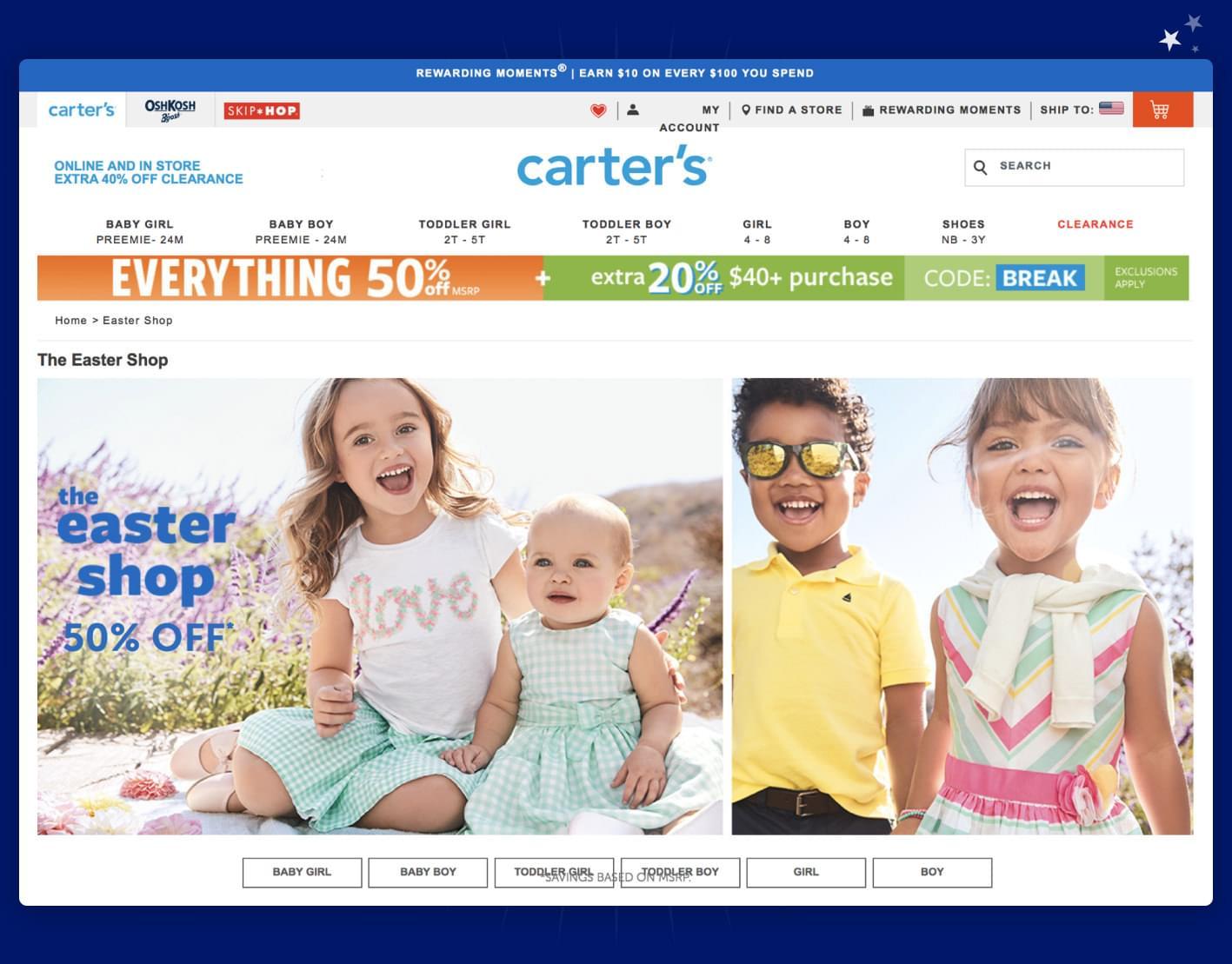 Screenshot af Carter's webshop med særlige påsketilbud