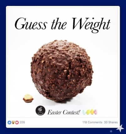 Screenshot fra Facebook-annonce hvor besøgende skal gætte vægten på noget chokolade