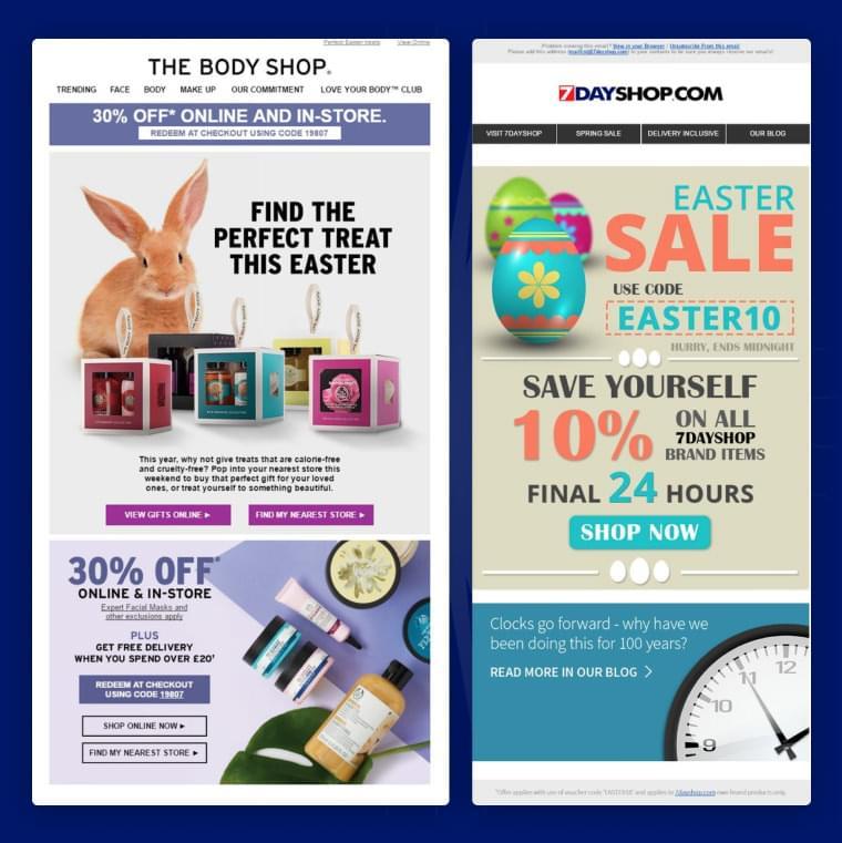 Screeshots af påskeemails fra the Body Shop og Dayshop.com