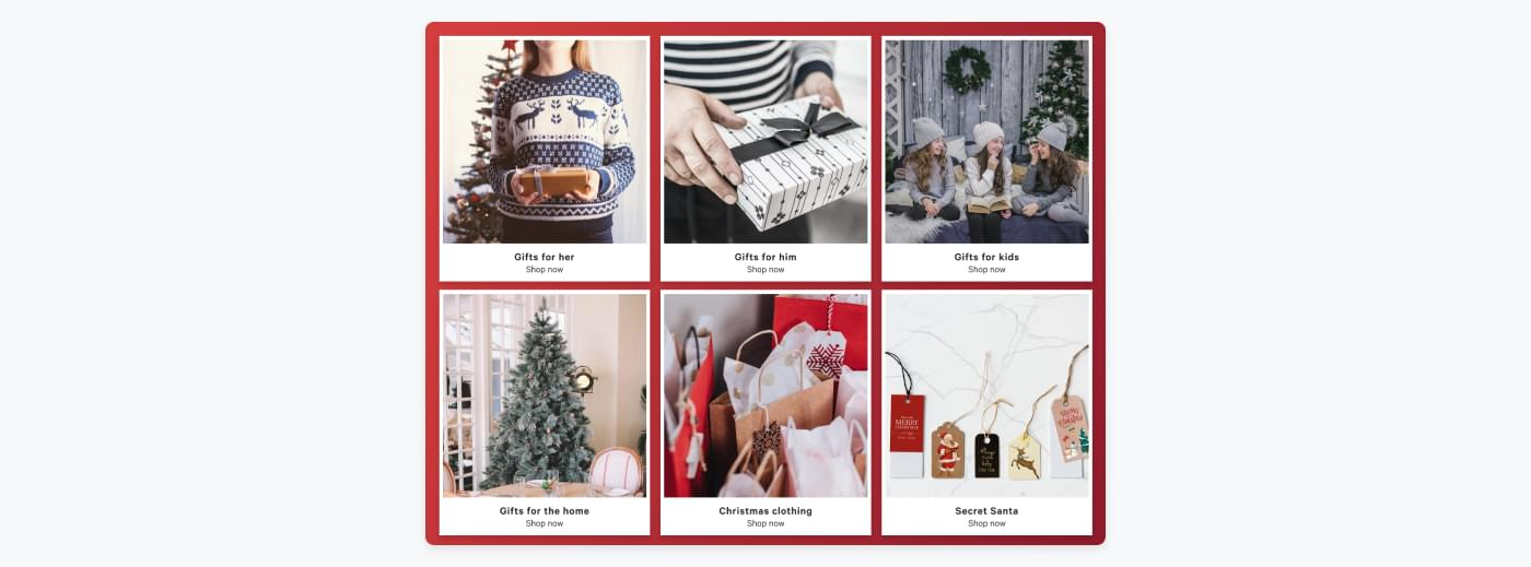 example of landing pages for different gift ideas