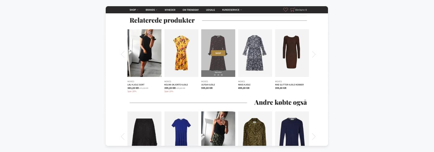 Screenshot from Trendday showing their 'related product' and 'other also bought' suggestions
