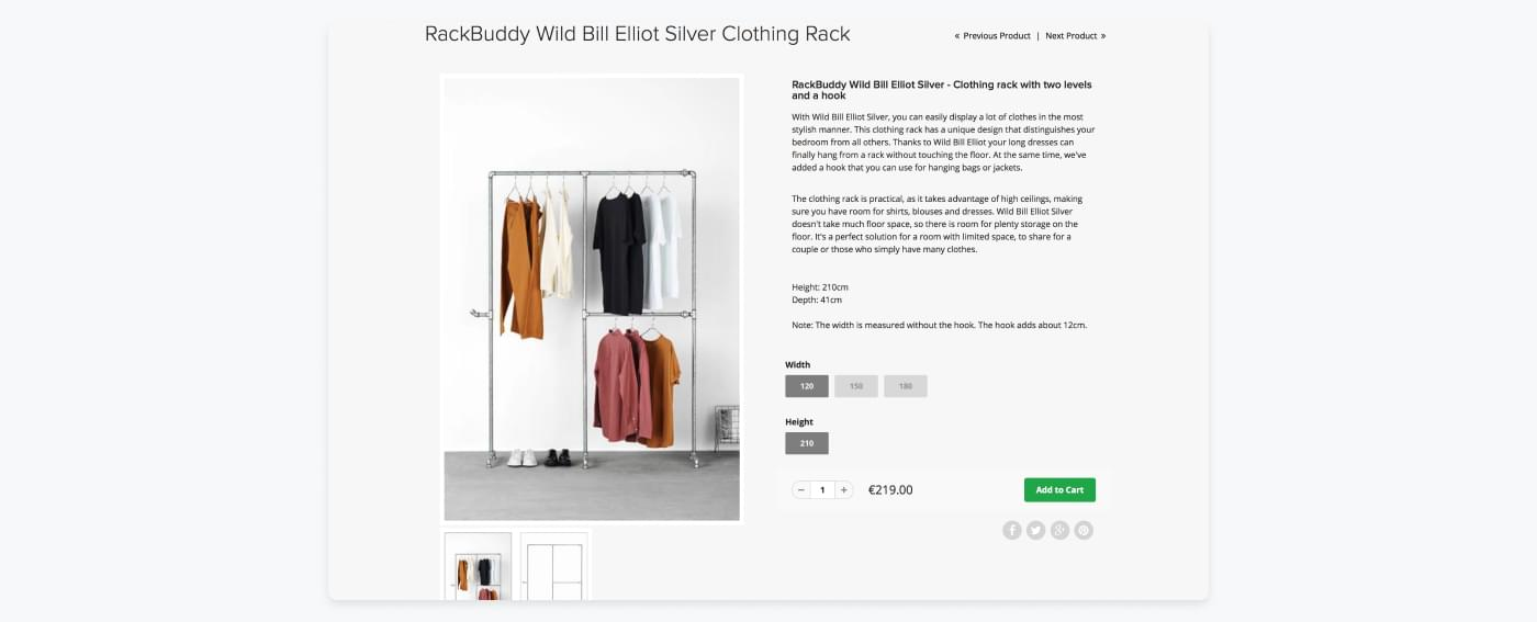 Rack Buddy's product site showing good product pictures and informative product descriptions