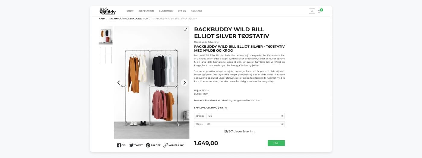 Screenshot fra Rackbuddy med gode produktbilleder og informative produktbeskrivelser