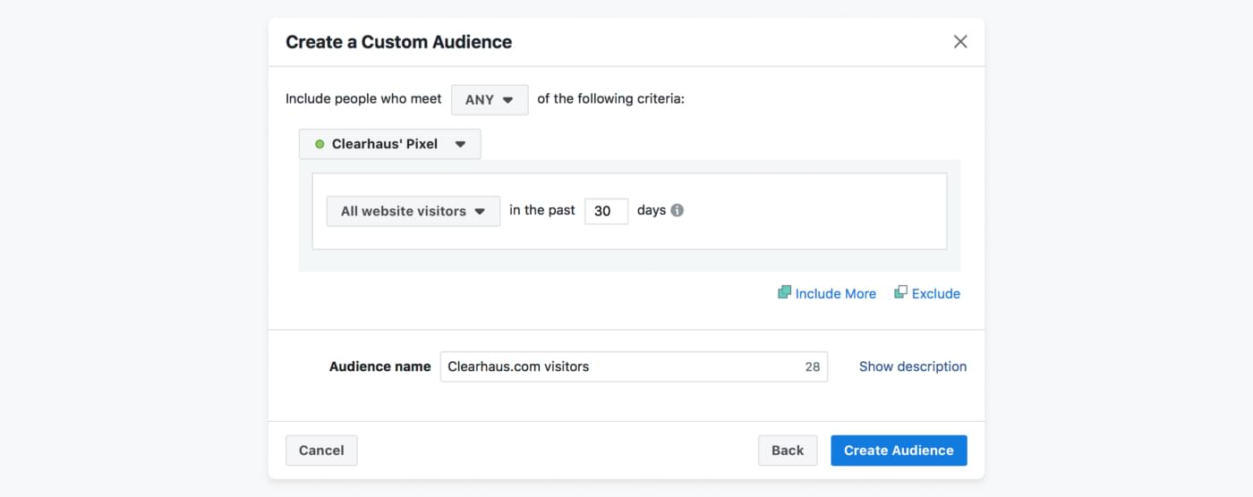 Screenshot from Facebook Ads on how to create custom audience