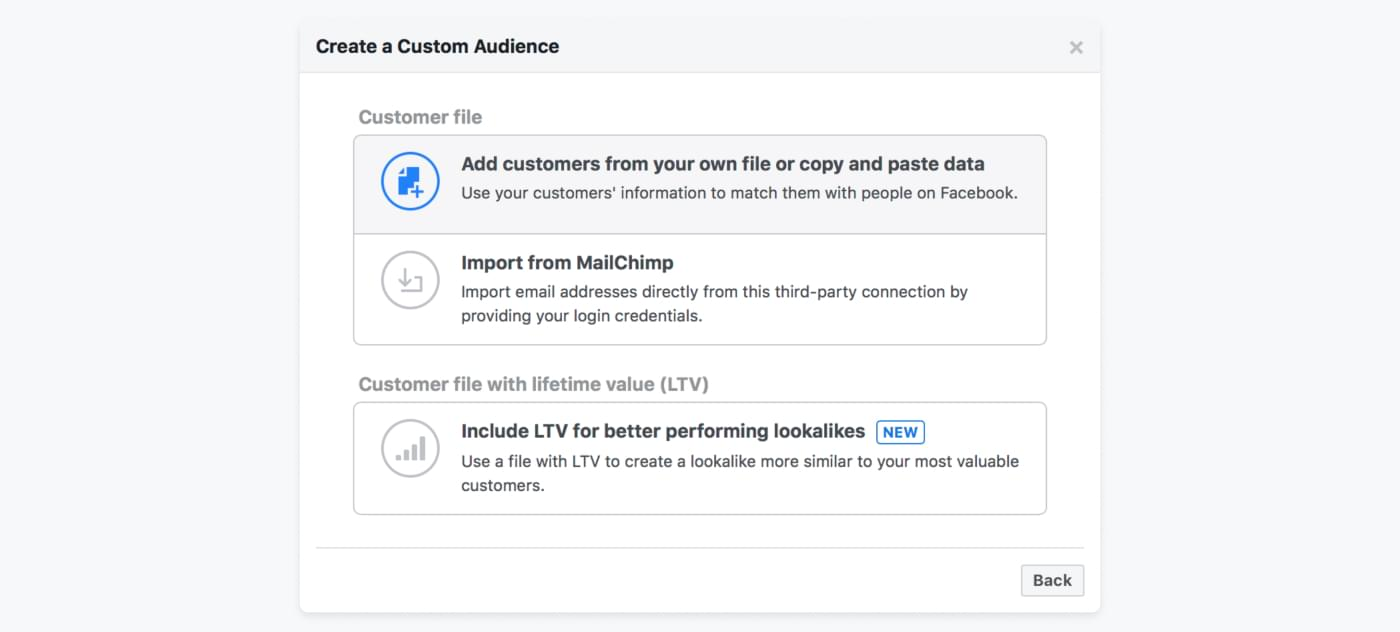 Screenshot from Facebook Ads of how to create audience based on mailing list