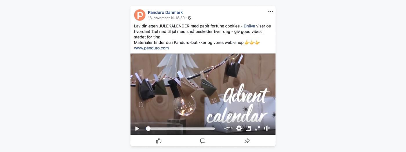Screenshot af Panduro Hobbys Facebook-opslag med DYI julekalender