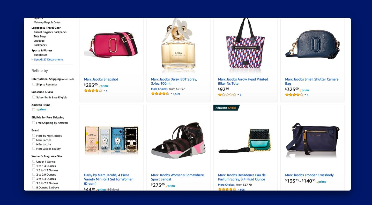High-quality product images of perfumes, bags, and shoes