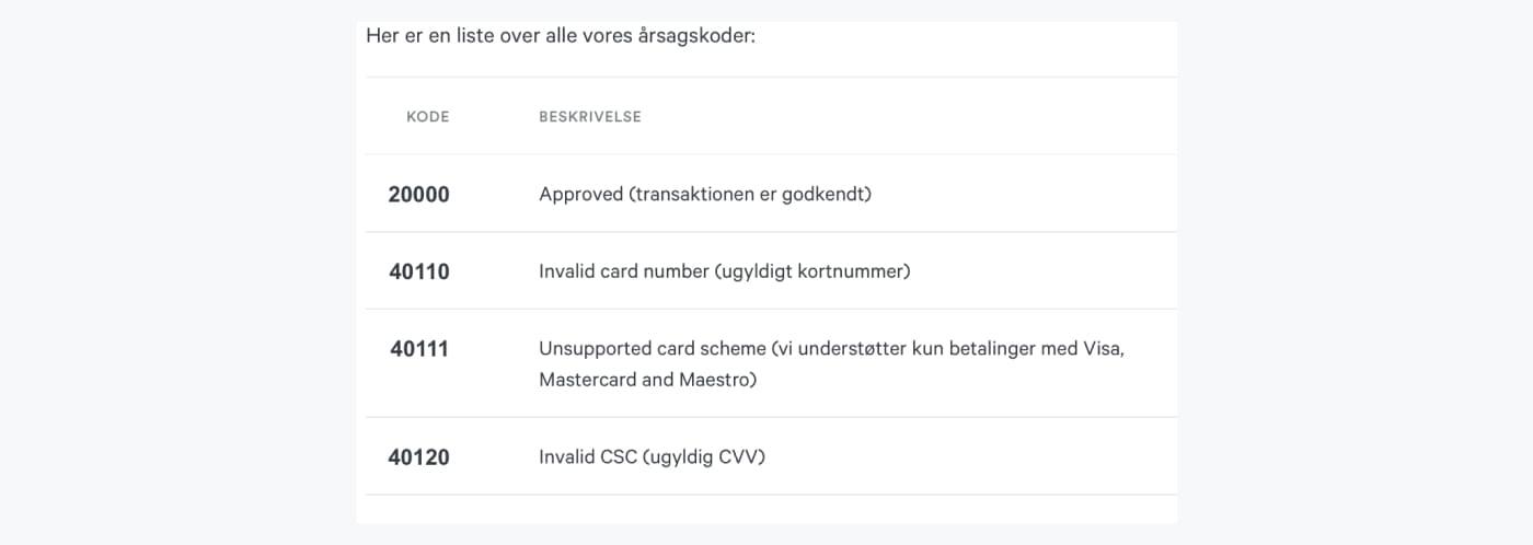 Udsnit af en liste over mulige reason codes, som fortæller hvorfor en betaling er blevet afvist.