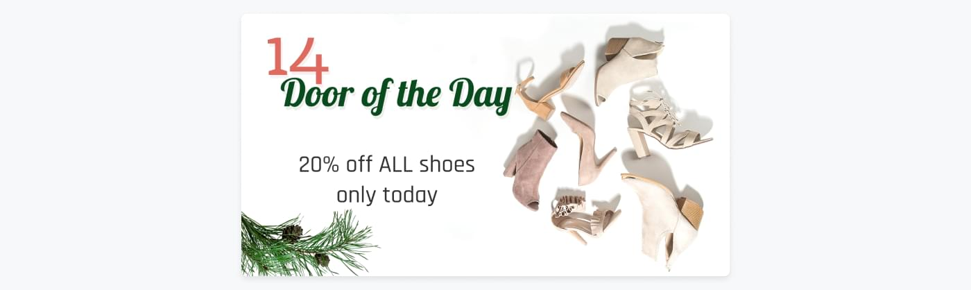 advent calendar deal with 20% off shoes on December 14th