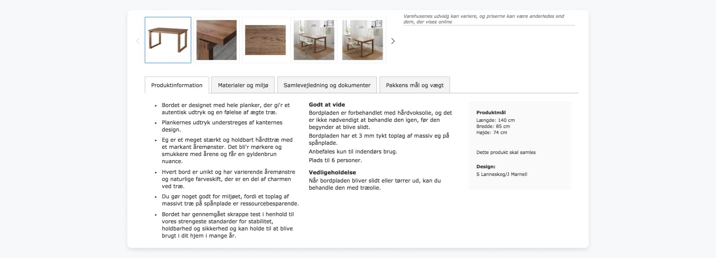 IKEA Denmark's thorough product description of a wooden table