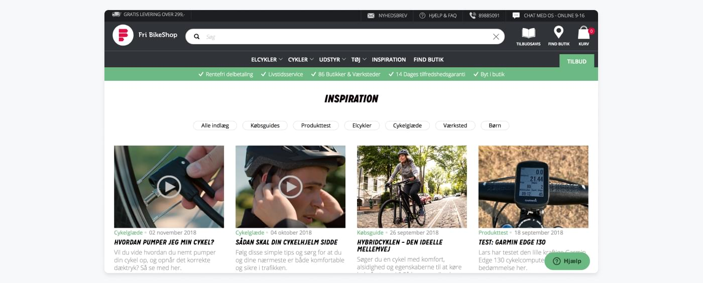 FriBikeshop's inspiration page with tips, guides, and product reviews