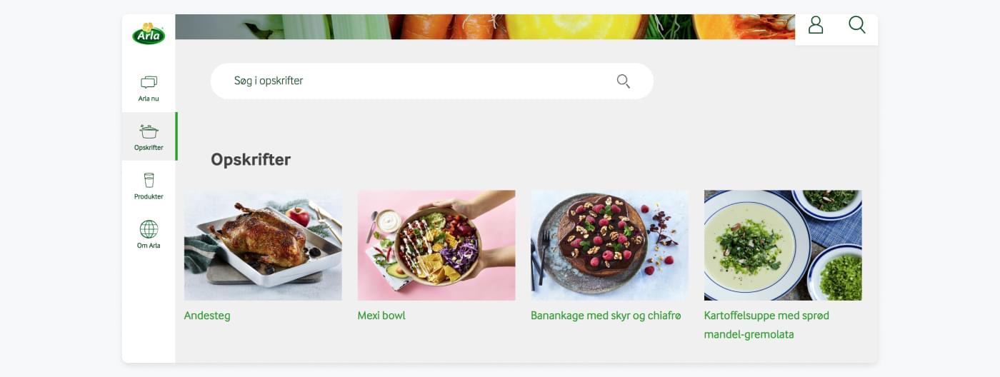 Karoline's Kitchen page with recipes