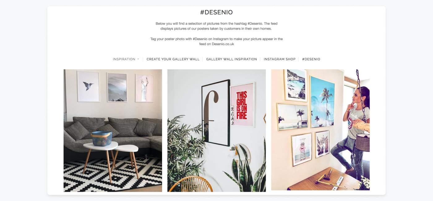 Desinio's inspiration page where they use customers' pictures