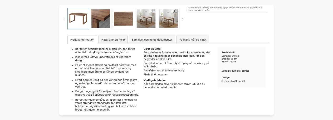 Screenshot af IKEAS grundige produktbeskrivelse for et træbord