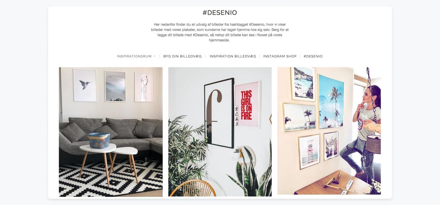 Desenios side, hvor de viser deres kunders inspirationsbilleder