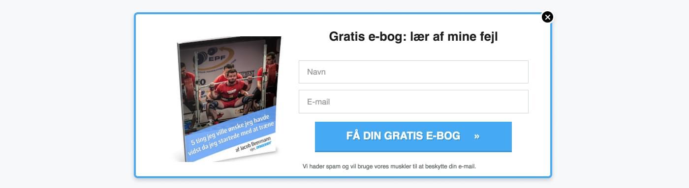 Eksempel på gated content, hvor man kan downloade e-bog om styrketræning