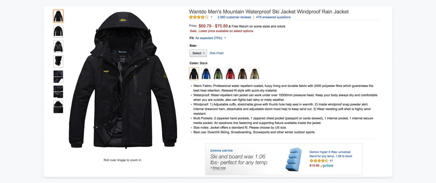example of a good product listing