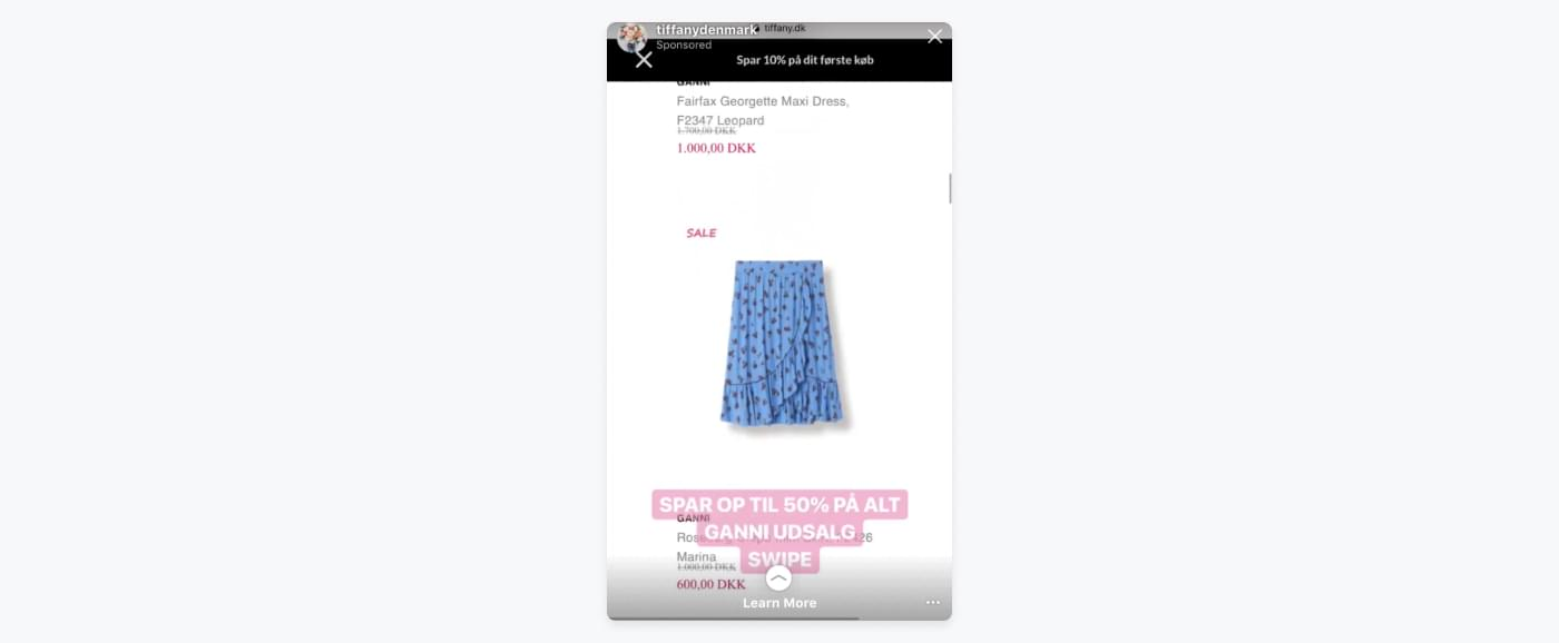 post from Tiffany Denmark's Instagram of a light blue skirt from Ganni