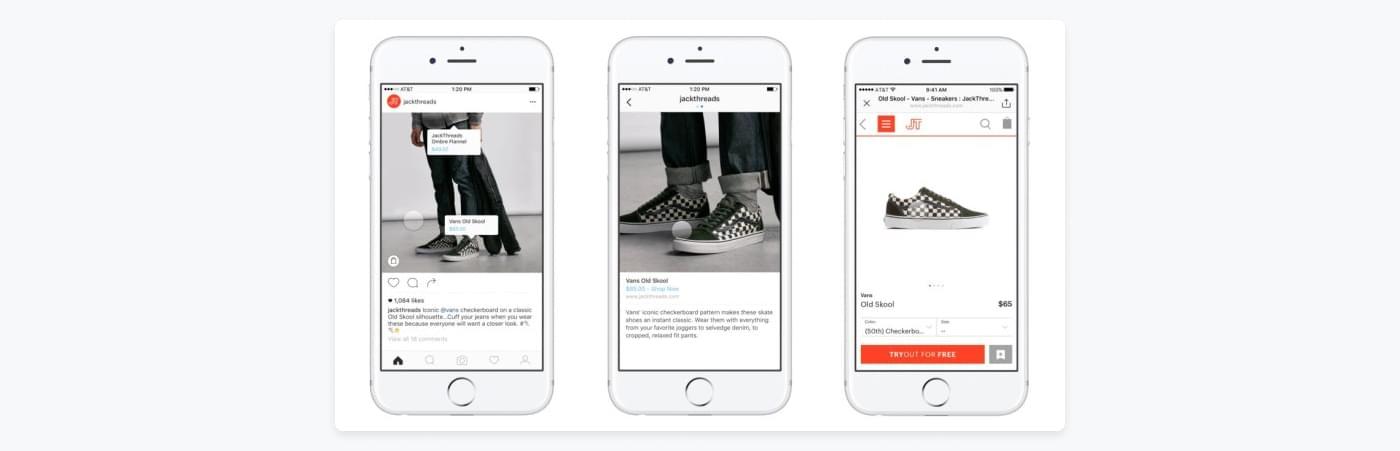 På Instagram kan man tagga produkter på bilder man lägger upp på samma sätt som man kan tagga personer.
