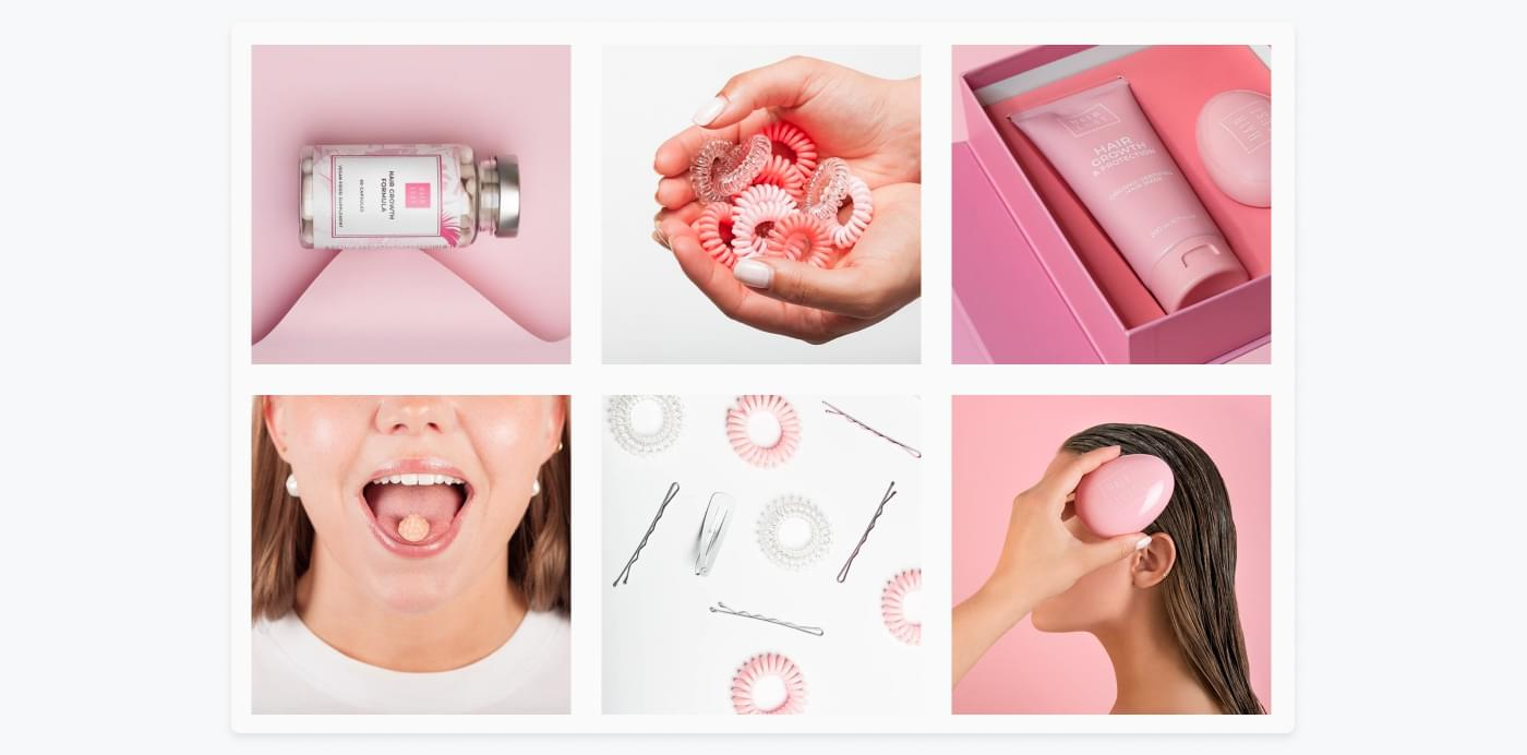 Forskellige HairLust produkter vises frem på virksomhedens Instagram-profil