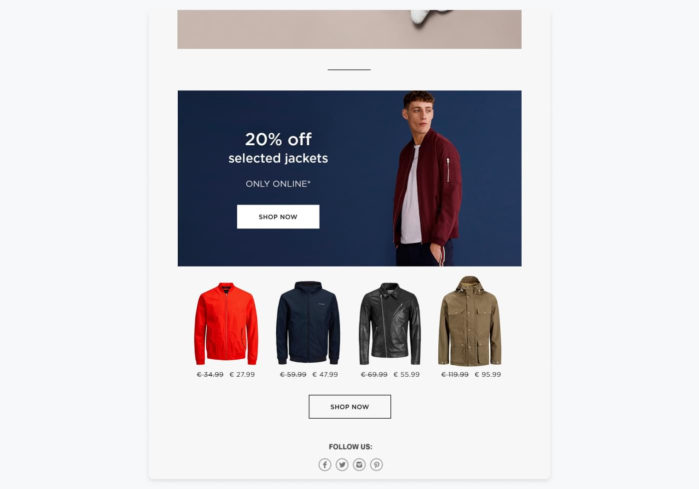 snippet from JACK & JONES' newsletter with 20% off jackets