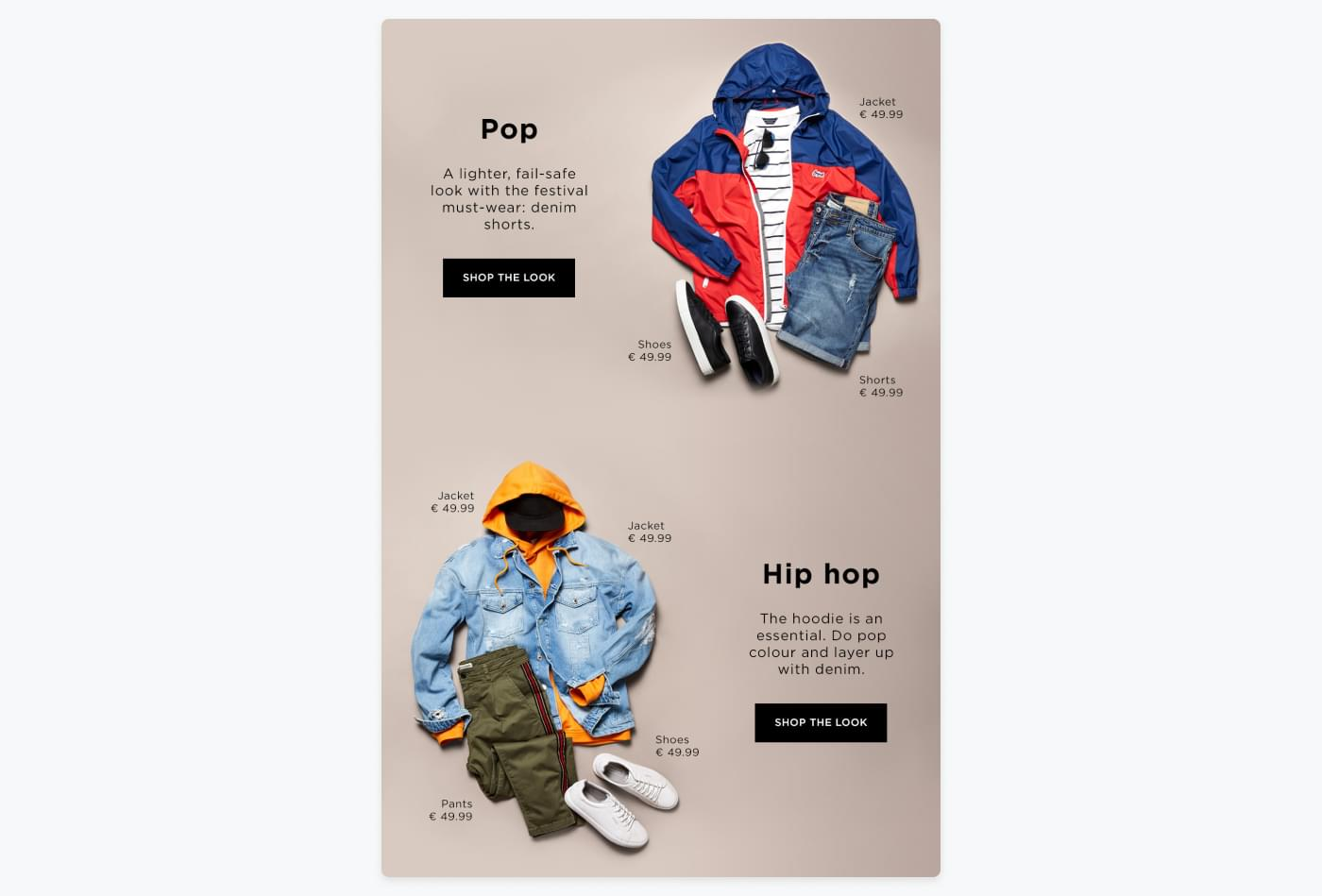 snippet from JACK & JONES' newsletter with suggestion for different outfits