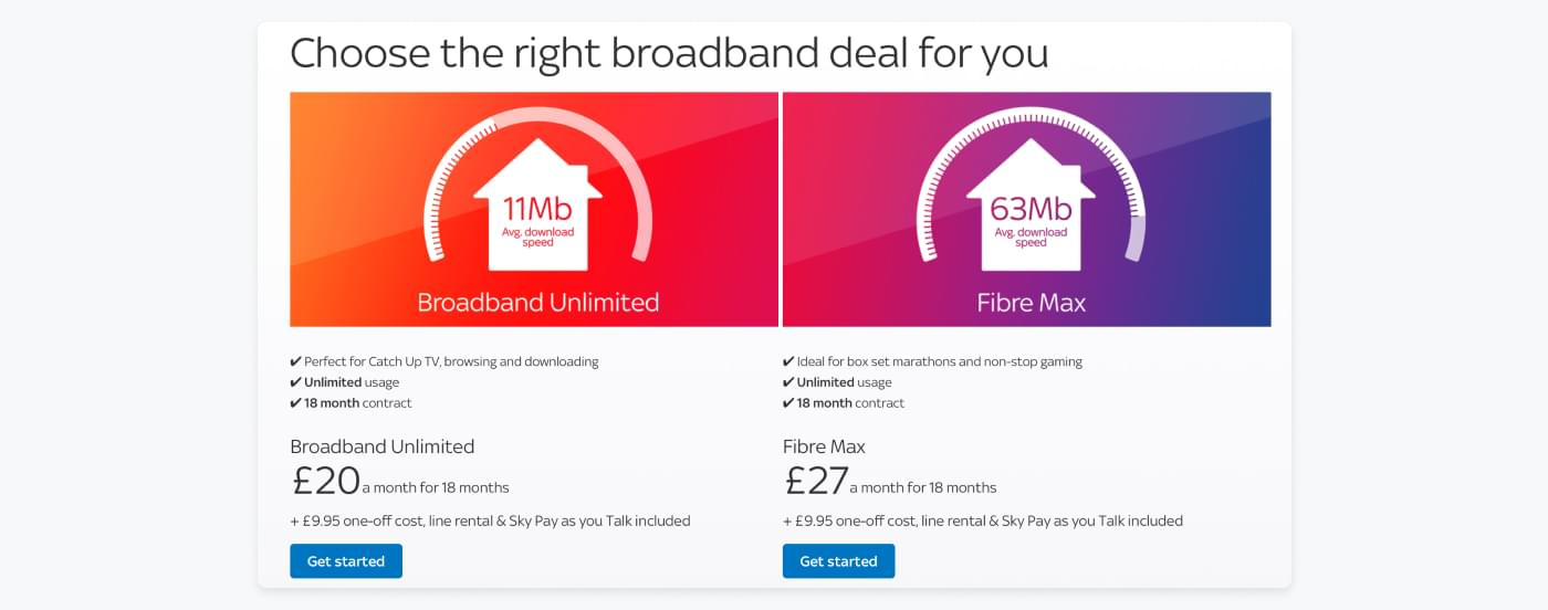 Example of Skys two different broadband options that fulfil different customer needs.