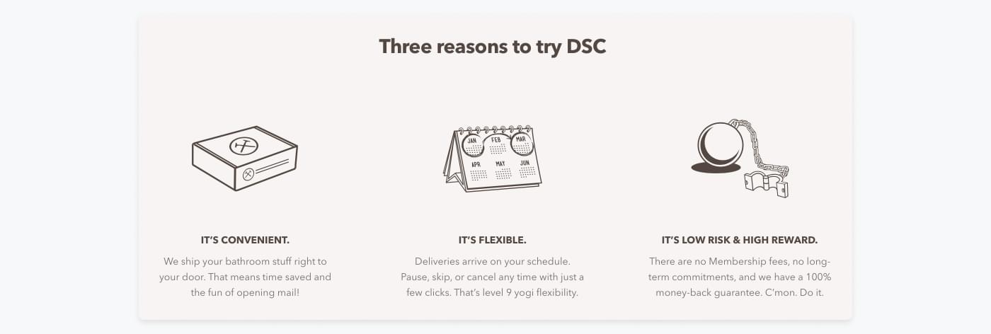 Screenshot from the website of Dollar Shave Club emphasising how easy their subscription is.