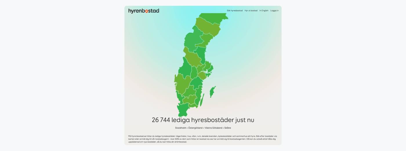 Kort, der viser Hyrenbostads ledige boliger i Sverige