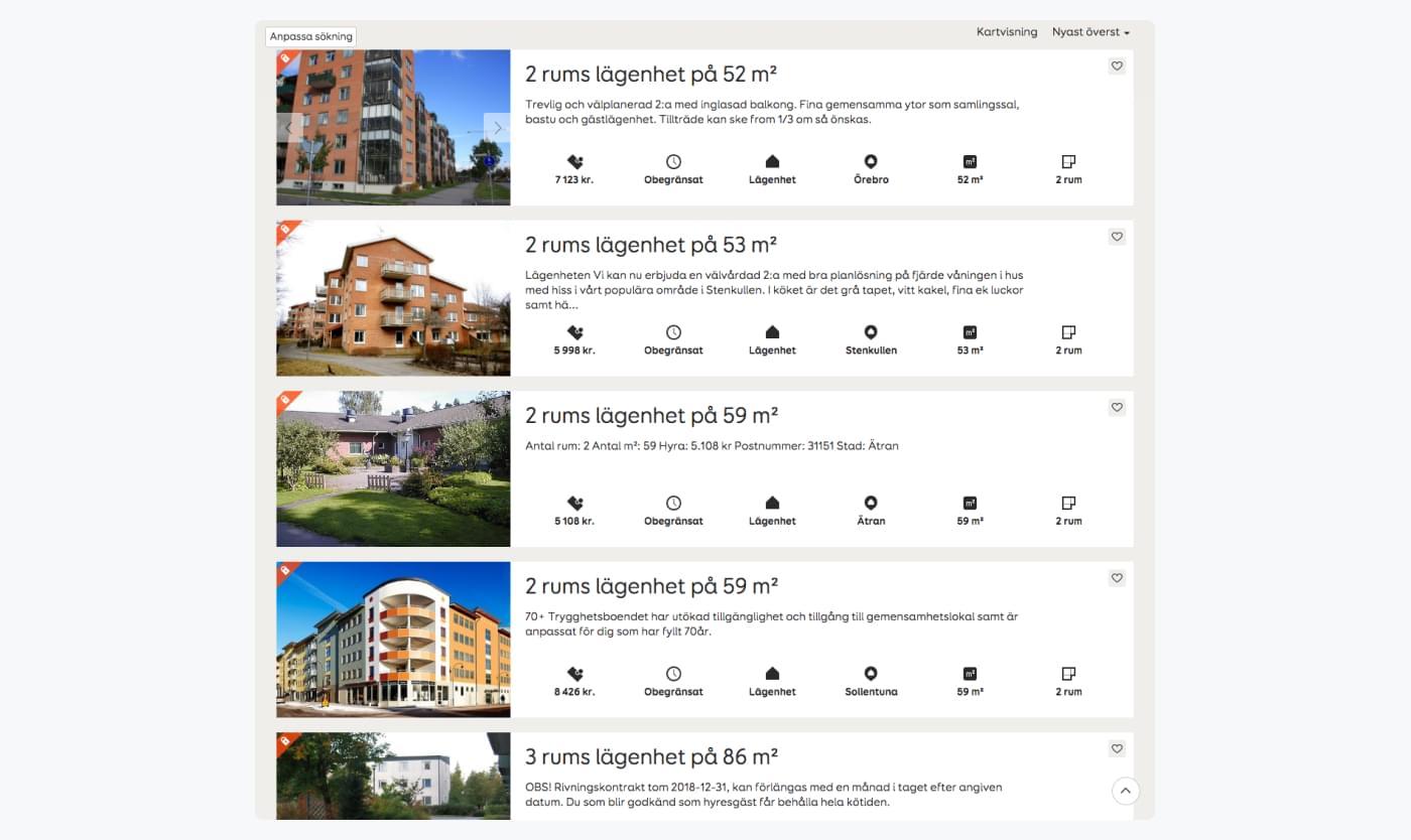list of apartment postings on Hyrenbostads website