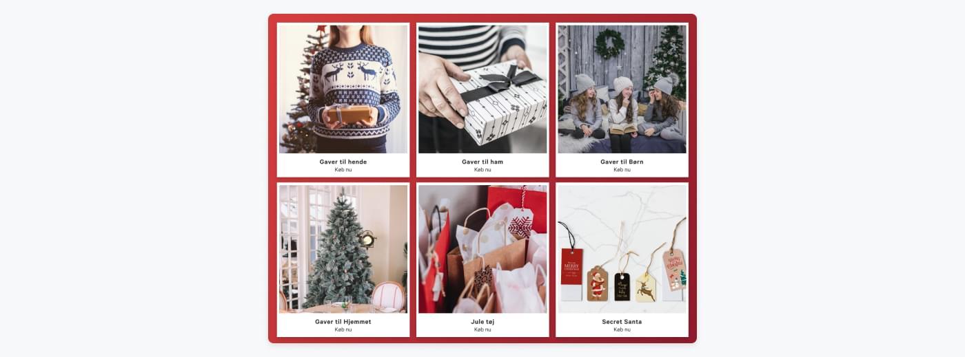 forslag til opdeling af produkter i forskellige julegavekategorier