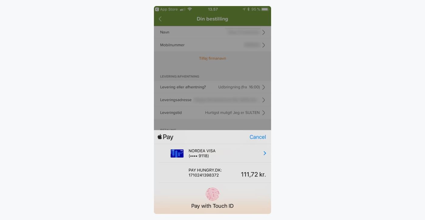 apple pay payment in Hungry's mobile app