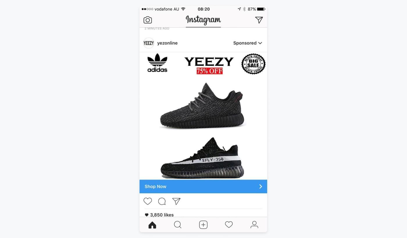 Instagramannonce fra Yeezy, hvor deres bruges Black Friday og rabatter til at fange opmærksomhed