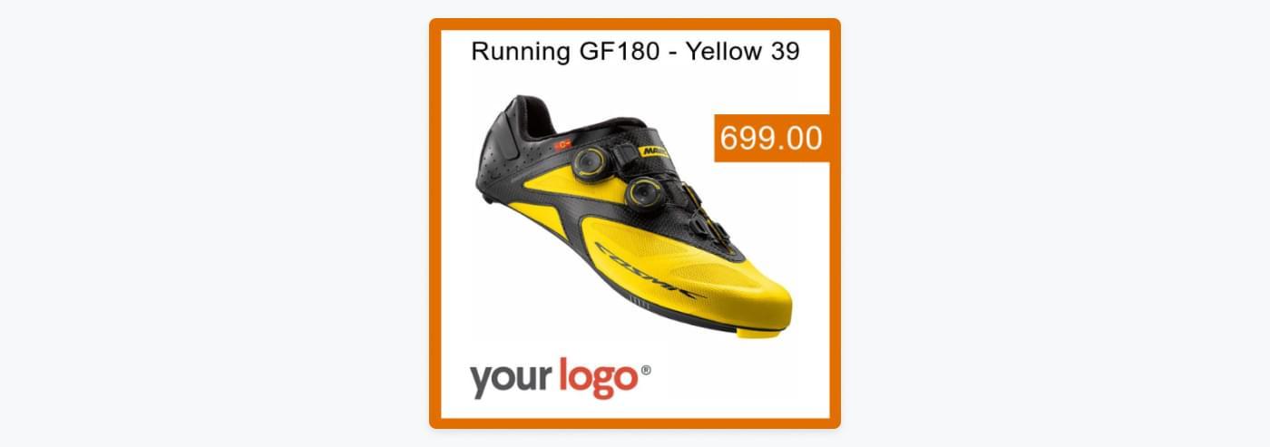 En annonce for sportssko, hvor man bruger gule og orange farver for at skille sig ud