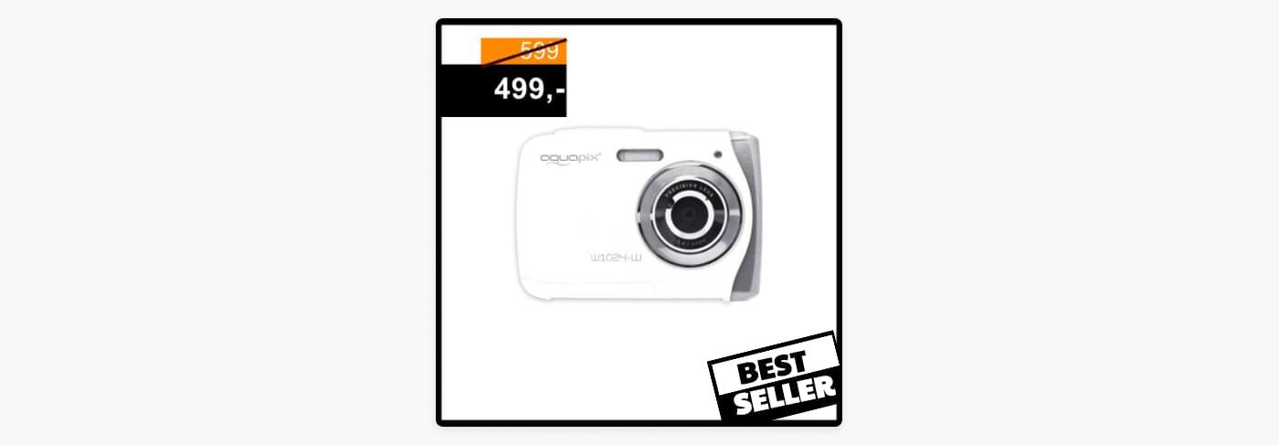 En annonce for et kamera, hvor man frister kunderne med en prisreducering og et 'best seller' mærke