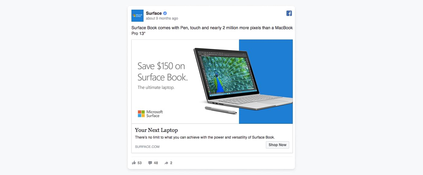 Facebook ad from Microsoft using bright blue colour to catch the eye