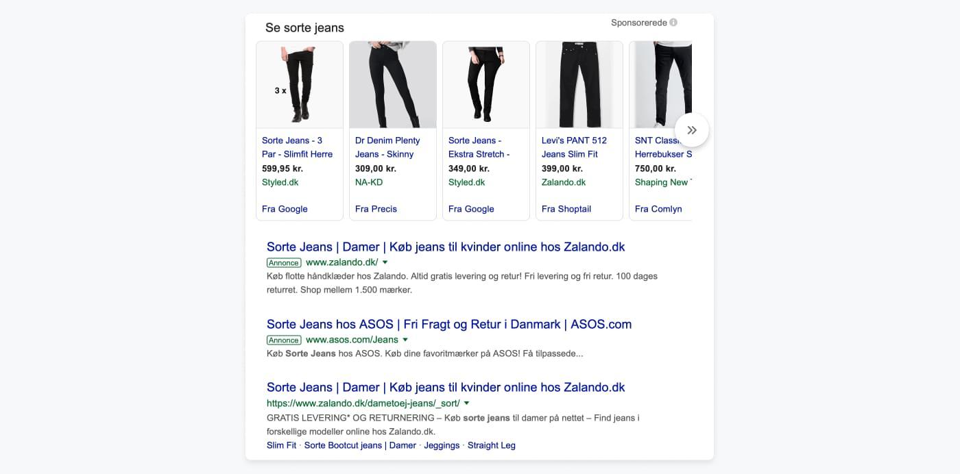Screenshot af Googles søgeresultater på en søgning på sorte jeans